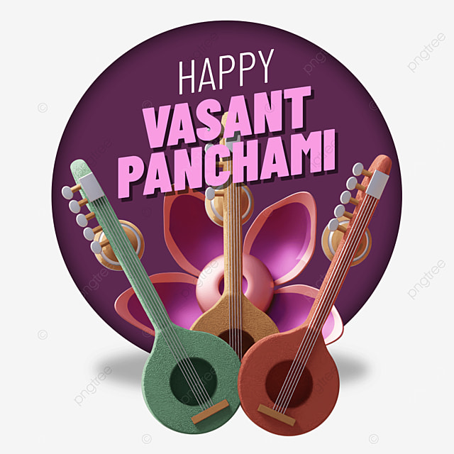 happy vasant panchami with triple guitars and flower behind