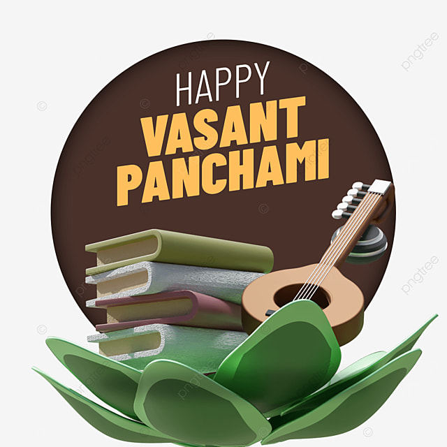 set of happy vasant panchami with guitar books on big flower