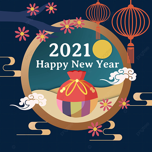 green round label plum lantern decoration korean happy new year lucky bag
