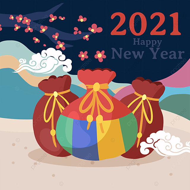 plum blossom decoration colorful mountains and rivers background korean happy new year lucky bag