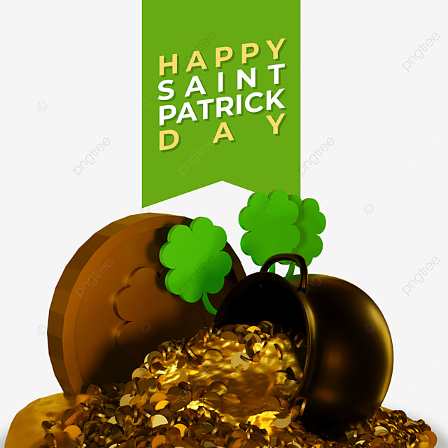 3d happy saint patrick day with barrels spills out coins
