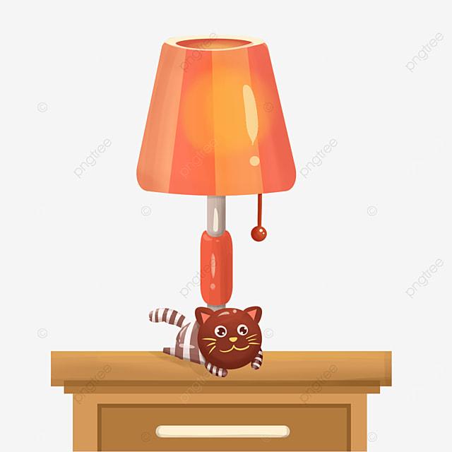 cat orange lamp clip art