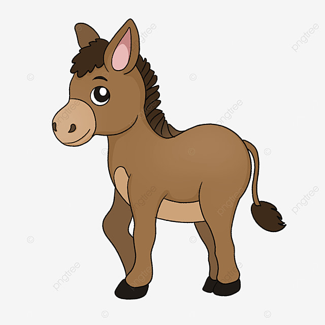cute brown little donkey clipart