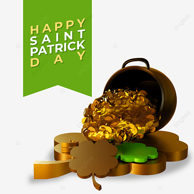 3d happy saint patrick day with barrels spills out the gold on cloverleaves