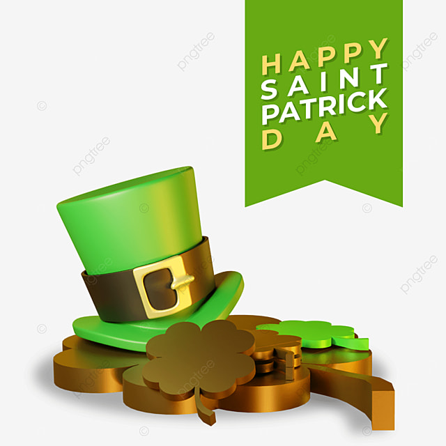 3d happy saint patrick day with hat on gold big clover leaves