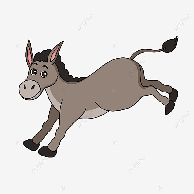 donkey running fast clipart