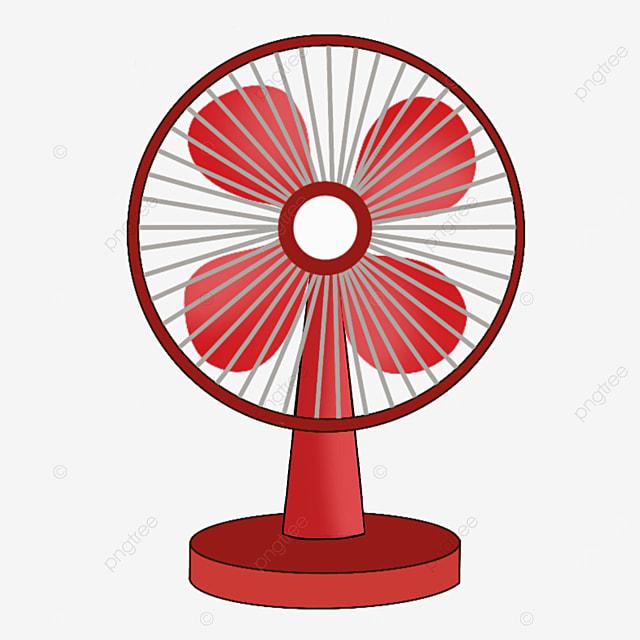 red desk vertical electric fan clip art