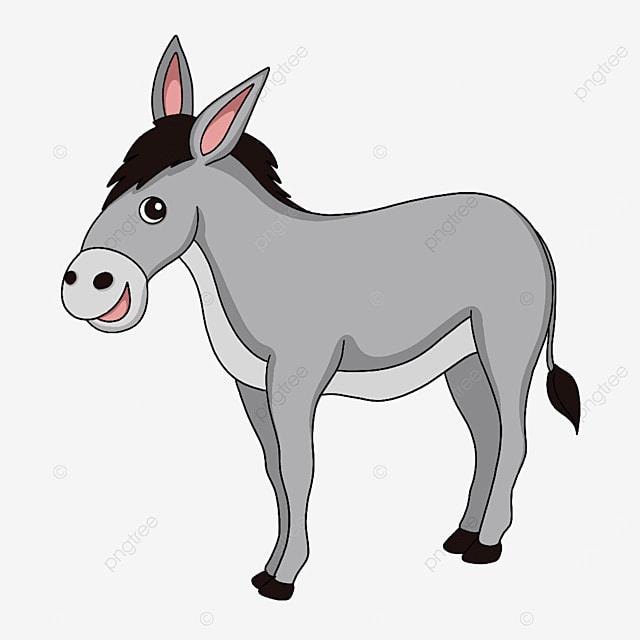 smiling gray donkey clipart