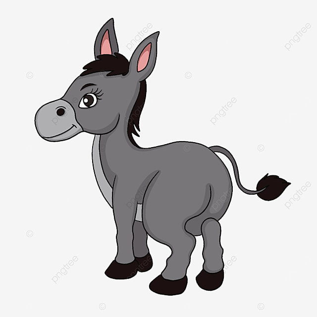 strong cute donkey clipart