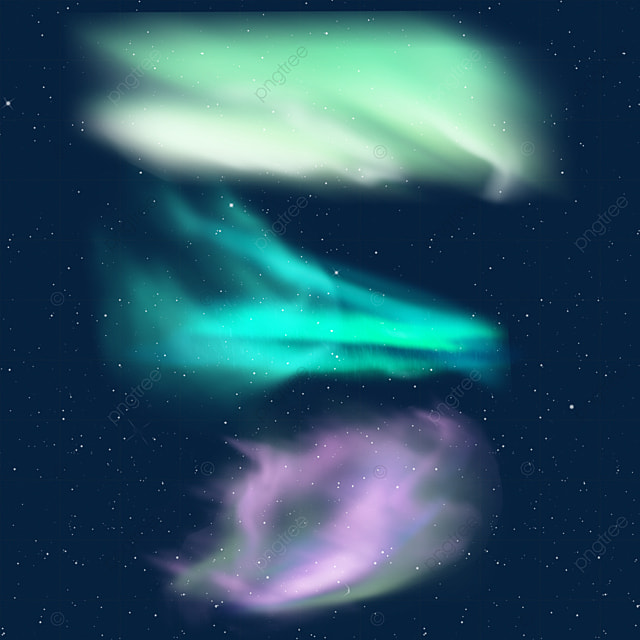 blue green and purple aurora light effect
