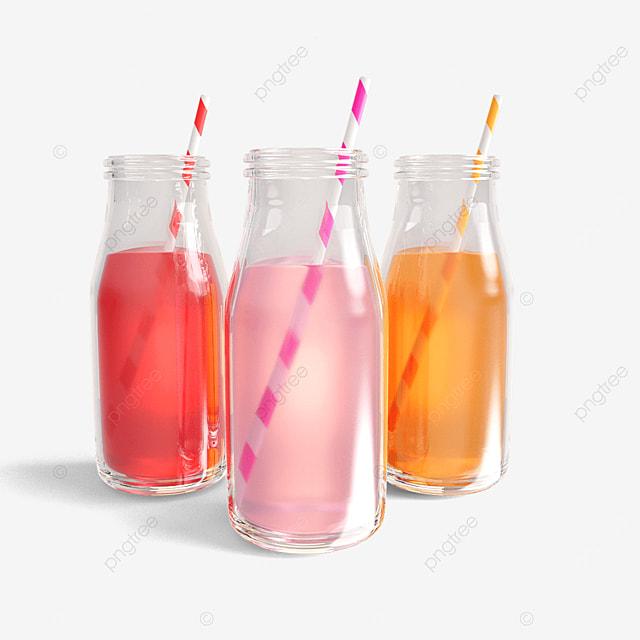 colorful juice glass bottles
