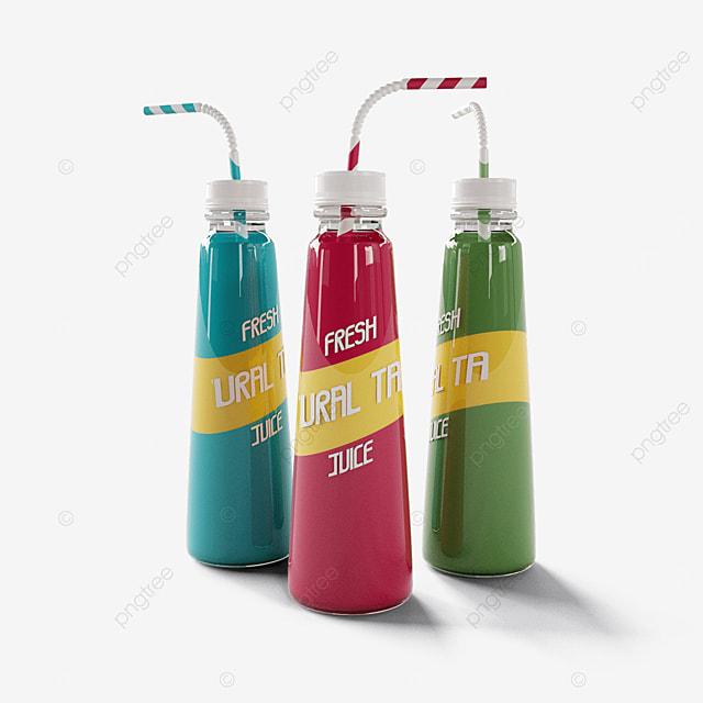 colorful straw juice plastic bottle