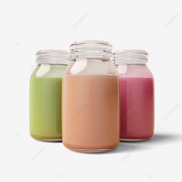 glass milk tea bottle