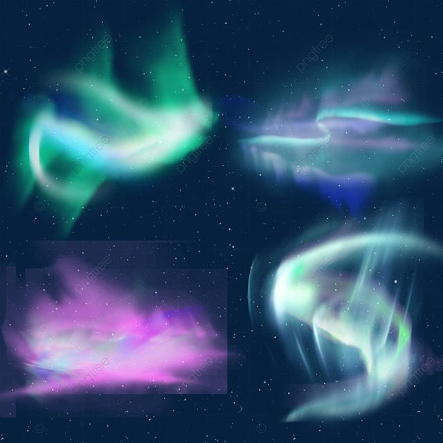 gradient green and blue aurora light effect