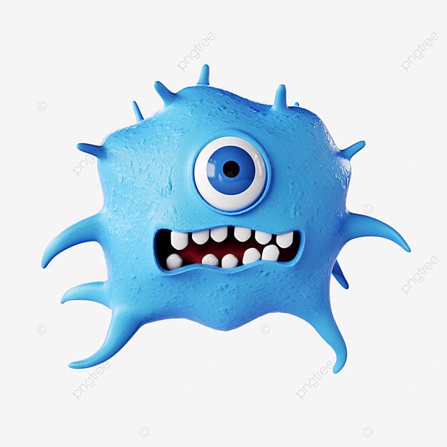 3d stereo blue virus