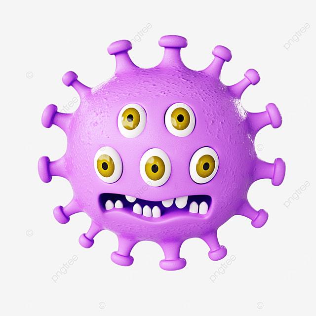 anthropomorphic virus with multiple eyes