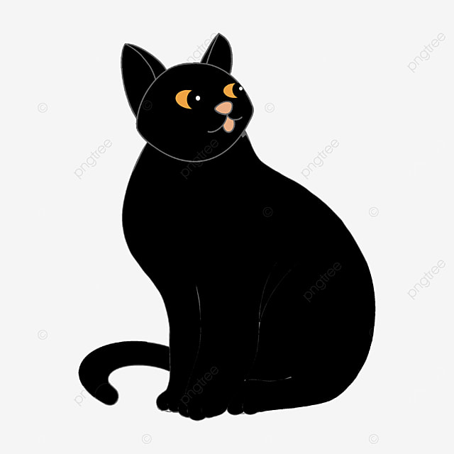 black cat with head tilted back clipart