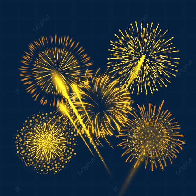 blooming golden happy new year fireworks