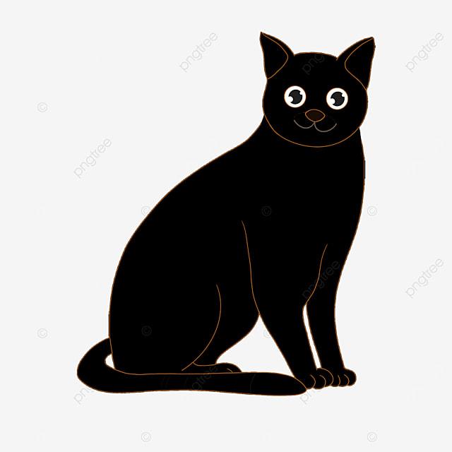 cute pet black cat clip art