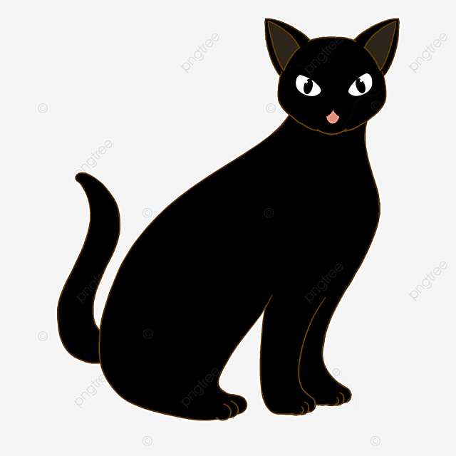 evil black cat wagging its tail clipart