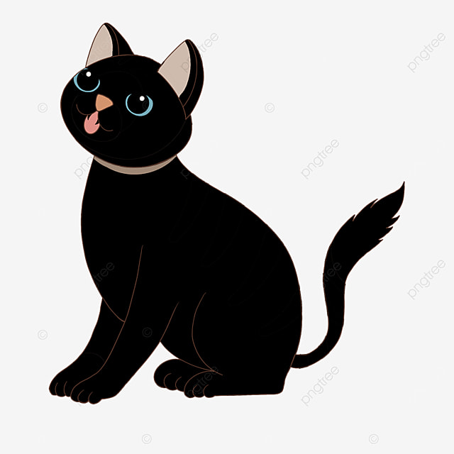 funny open mouth black cat clipart