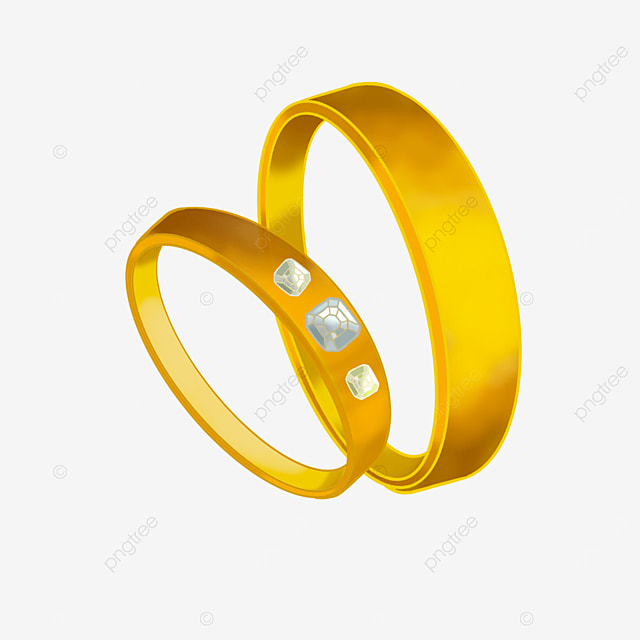 gold couple wedding rings clipart