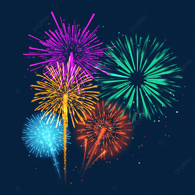 happy new year beautiful rainbow colored fireworks