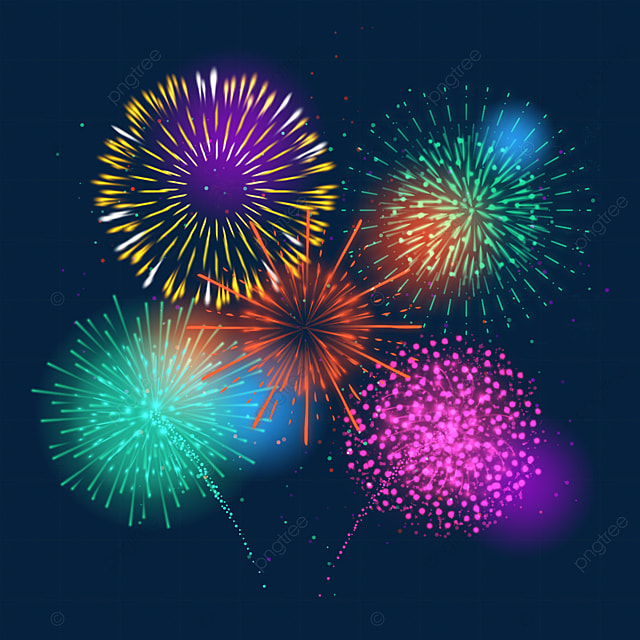 happy new year color halo fireworks