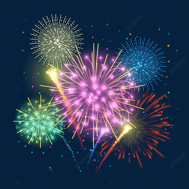 happy new year color sparkle gradient firework