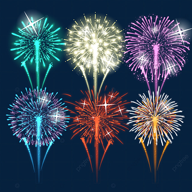happy new year colorful gradient sparkling firework