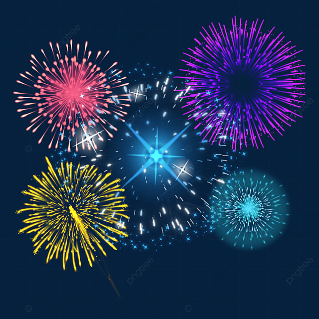 happy new year dazzling colorful fireworks