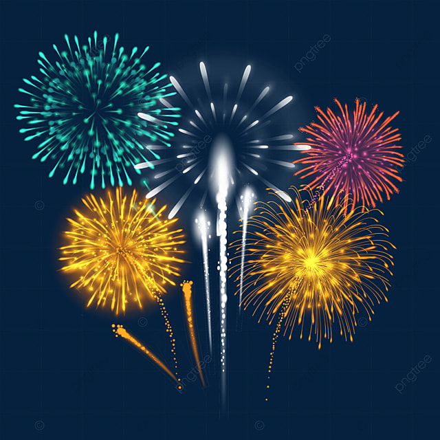 happy new year golden and green blooming beautiful fireworks