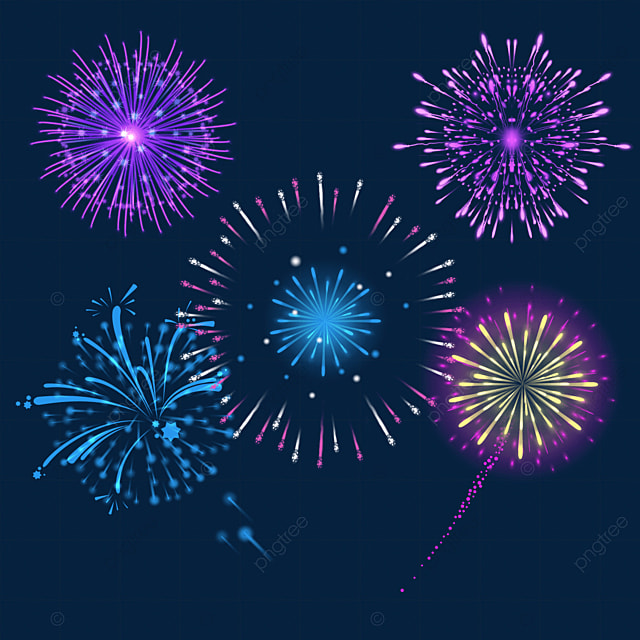 happy new year purple fireworks blooming