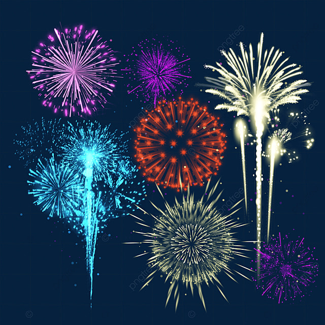 happy new year rainbow colors blooming fireworks