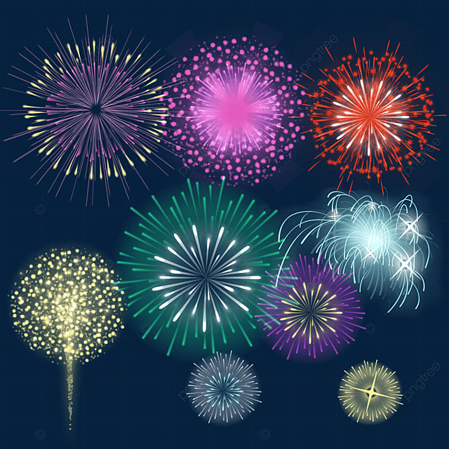 happy new year sparkling colorful fireworks