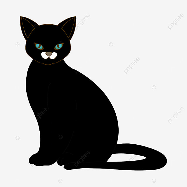 indifferent staring black cat clipart