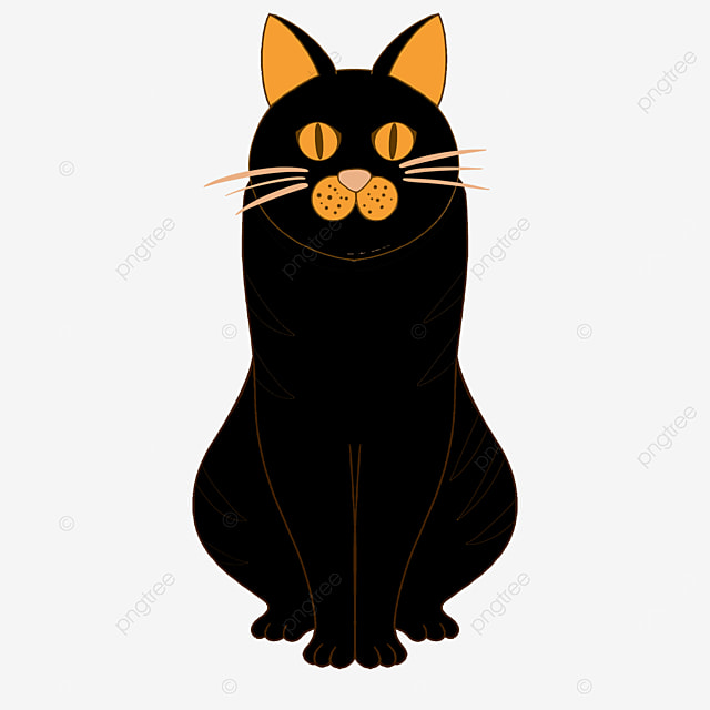 indifferent staring sitting black cat clipart