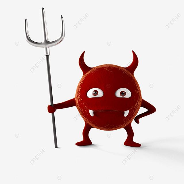 little devil virus holding a fork