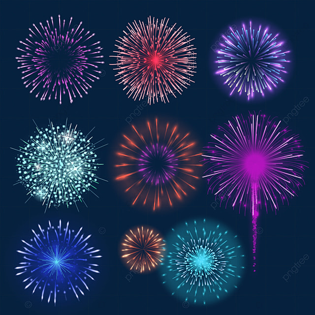 purple gradient colored happy new year fireworks
