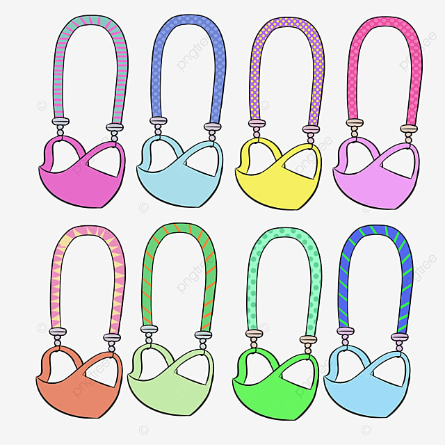 rainbow color cartoon medical mask and rope