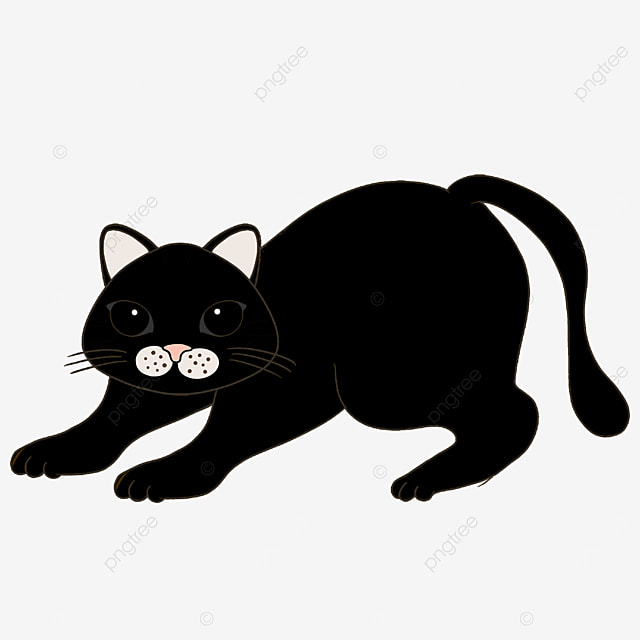 ready to exercise black cat clipart