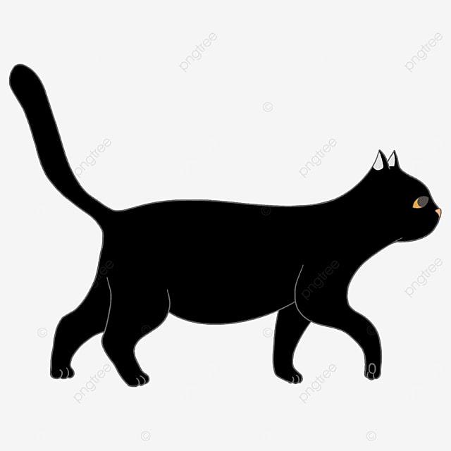 roaming walking black cat clip art
