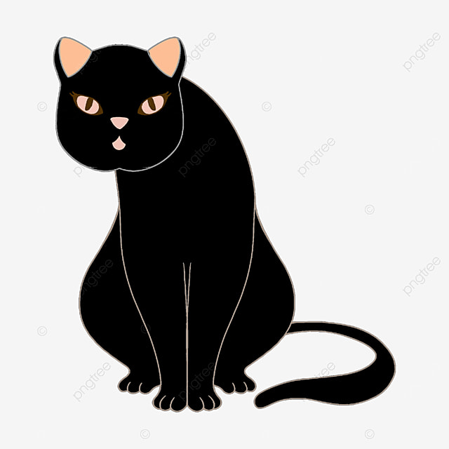 sitting black cat with tilted head clipart