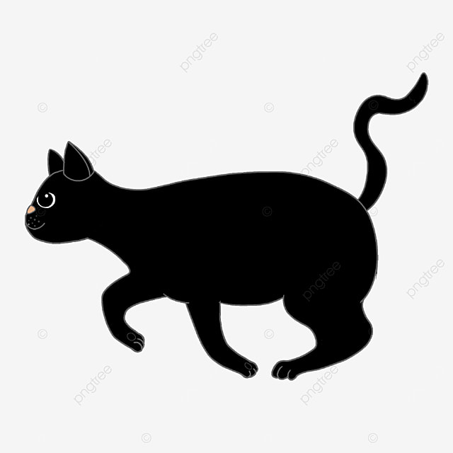 sporty black cat with curled tail clipart
