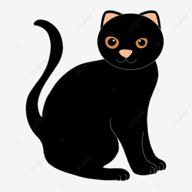 stupid and cute black cat wagging its tail clipart