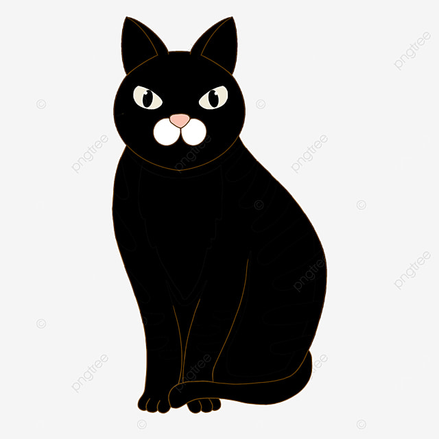 vertical eared black cat clip art