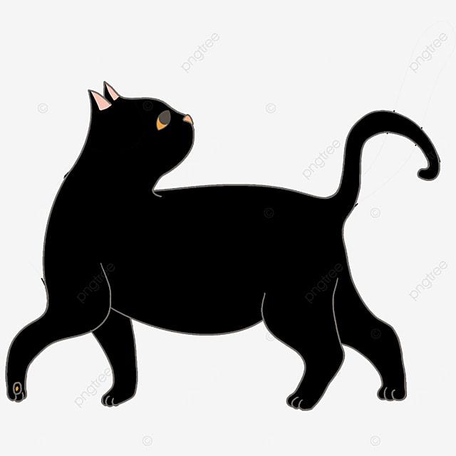 walking back black cat clip art