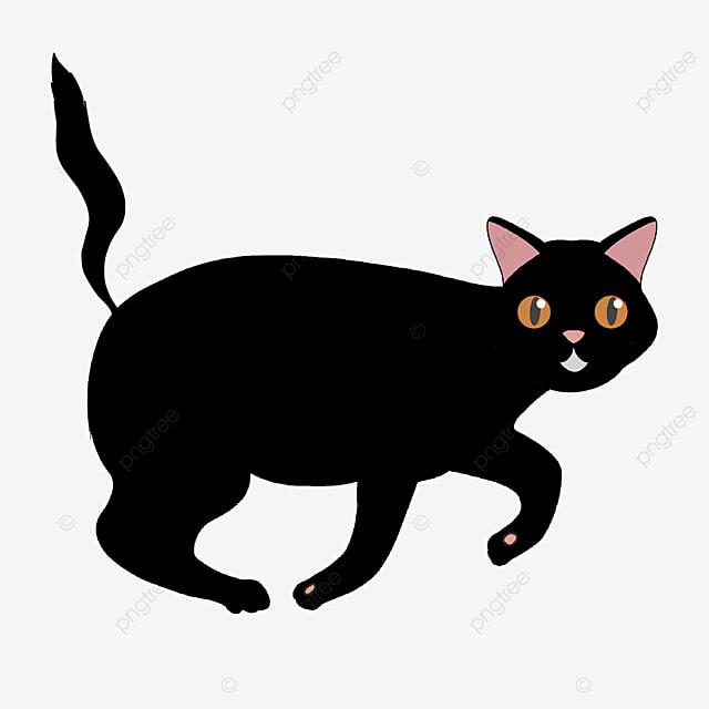 walking beating black cat clipart