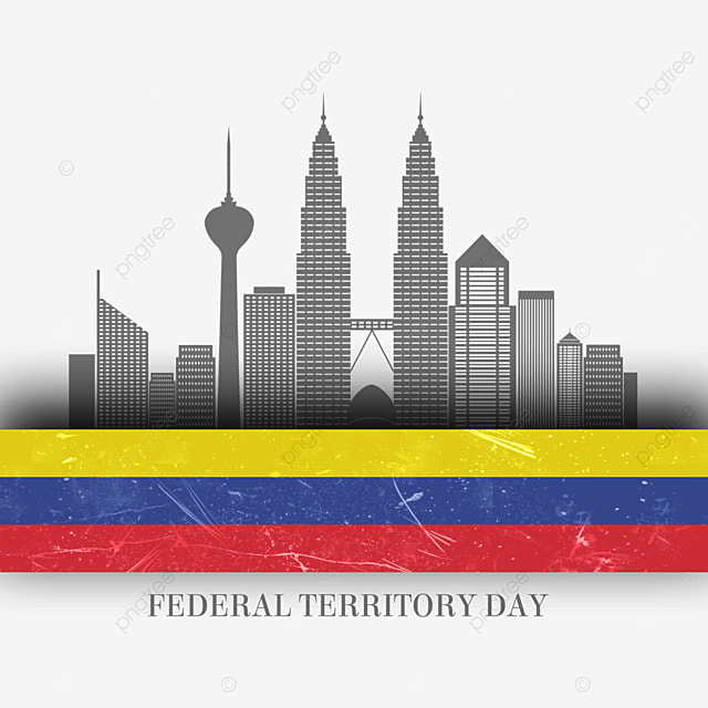 federal territory of malaysia day vintage distressed abstract flag and city silhouette