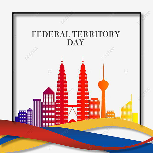 malaysia federal territory day abstract flag and colorful city silhouette
